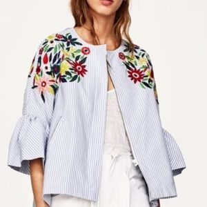 NWT Zara Striped Floral Embroidered Jacket